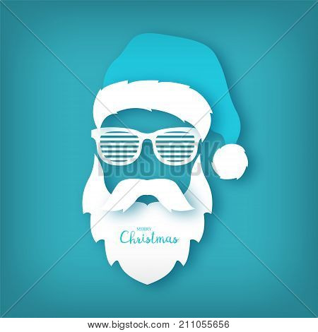 Paper Santa Claus with glasses shutter shades on blue background. Origami concept. Christmas illustration.