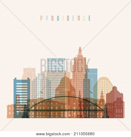 Providence state Rhode Island skyline detailed silhouette. Transparent style. Trendy vector illustration.