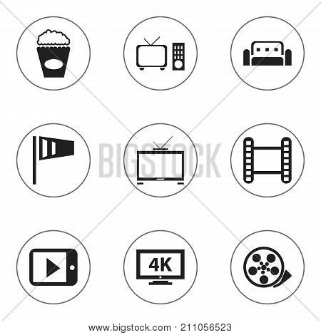 Set Of 9 Editable Cinema Icons. Includes Symbols Such As Monitor With Processor, Hd Television, Movie Strip And More