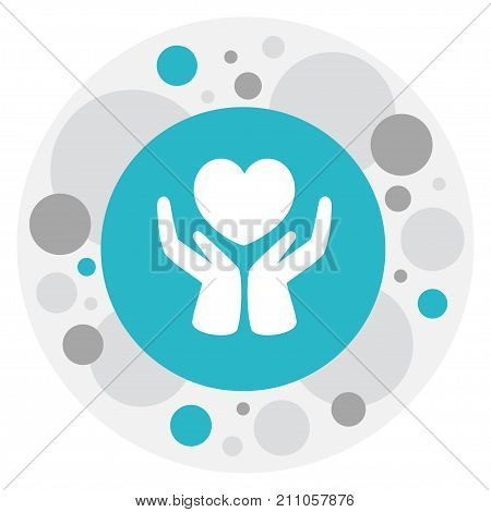 Vector Illustration Of Kin Symbol On Heart In Hand Icon