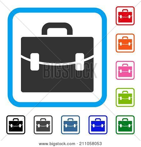 Case icon. Flat gray iconic symbol inside a light blue rounded squared frame. Black, gray, green, blue, red, orange color versions of Case vector. Designed for web and application UI.
