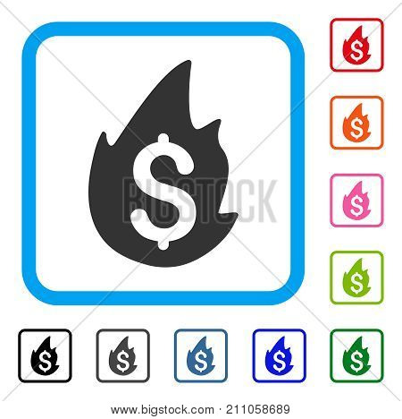 Fire Disaster icon. Flat grey pictogram symbol in a light blue rounded frame. Black, gray, green, blue, red, orange color variants of Fire Disaster vector. Designed for web and app UI.