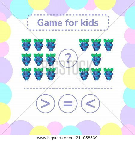 Vector illustration. Education logic game for preschool kids. Choose the correct answer. More, less or equal BlackBerry.