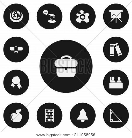 Set Of 13 Editable Teach Icons. Includes Symbols Such As Graduate Student, Bell, Victory Medallion And More