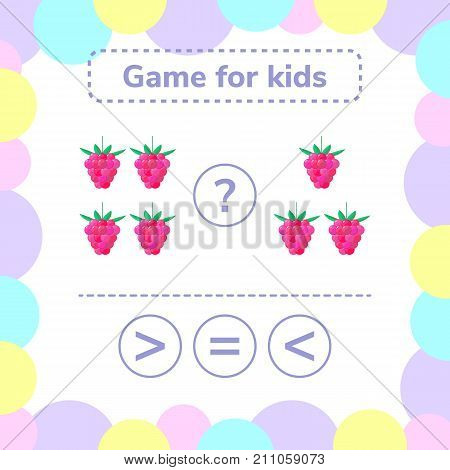 Vector illustration. Education logic game for preschool kids. Choose the correct answer. More, less or equal raspberry.