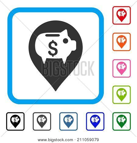 Piggy Bank Pointer icon. Flat grey pictogram symbol inside a light blue rounded rectangular frame. Black, gray, green, blue, red, orange color versions of Piggy Bank Pointer vector.