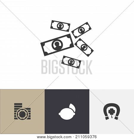 Set Of 4 Editable Game Icons. Includes Symbols Such As Greenback, Cash, Horseshoe With Clover And More