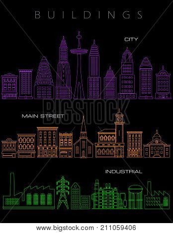 Architectural illustrations in neon colors on a black background. For print or web