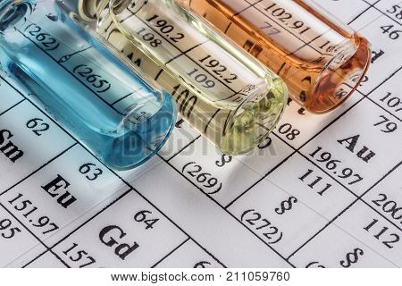 chemical formulation vials  and  medicines, Science concept