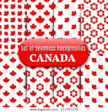 Set of abstract Canadian backgrounds. Seamless pattern from repeating maple leaves vector illustration.