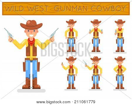Wild west american retro cowboy gunman flat design characters set isolated icons vector illustration