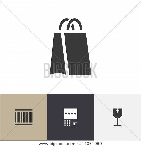 Set Of 4 Editable Business Icons. Includes Symbols Such As Package, Cracked Mug, Automatic Teller Machine And More