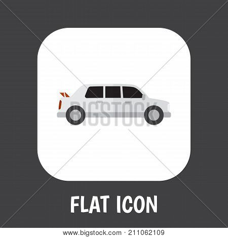 Vector Illustration Of Automobile Symbol On Limo Flat Icon