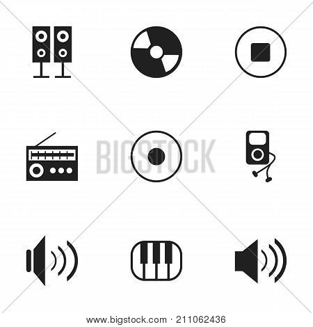 Set Of 9 Editable Song Icons. Includes Symbols Such As Music Speaker, Synthesizer, Retro Tuner And More