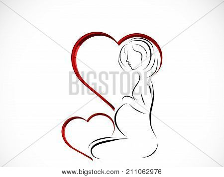 Silhouette of young pregnant woman in heart