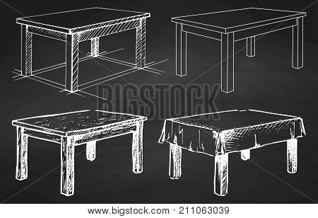 Sketch set isolated furniture. Different tables on the chalkboard. Vector illustration.