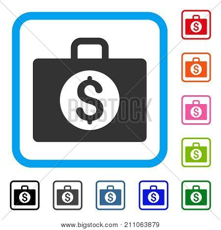 Accounting Case icon. Flat grey pictogram symbol inside a light blue rounded frame. Black, gray, green, blue, red, orange color variants of Accounting Case vector. Designed for web and software UI.