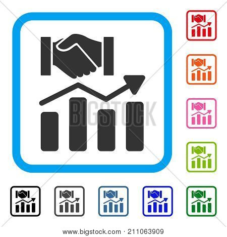 Acquisition Hands Graph Trend icon. Flat grey pictogram symbol in a light blue rounded rectangle. Black, gray, green, blue, red,