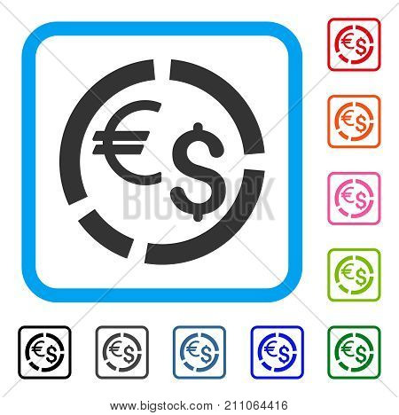 Currency Diagram icon. Flat grey pictogram symbol inside a light blue rounded square. Black, gray, green, blue, red, orange color variants of Currency Diagram vector. Designed for web and app UI.