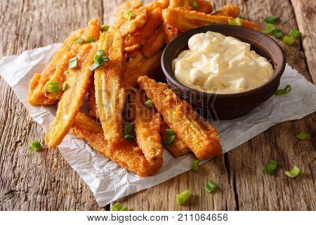 Fried Baby Corn With Green Onions And Creamy Sauce Close-up. Horizontal