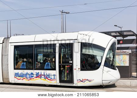 Lyon, France - March 15, 2017: Tramway at Confluence station in Lyon, France