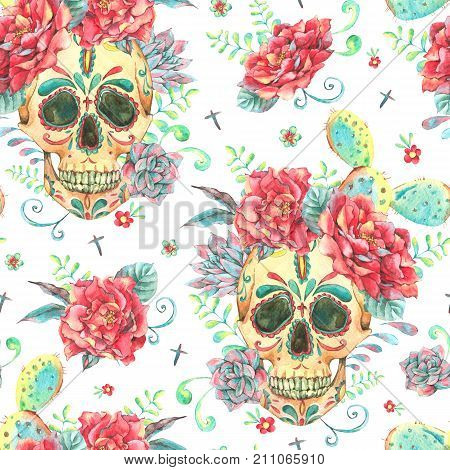 Vintage watercolor card with skull and roses, wildflowers, cactus, succulent. Hand drawn illustration in boho style on white background, Floral skull wallpaper, Day of The Dead