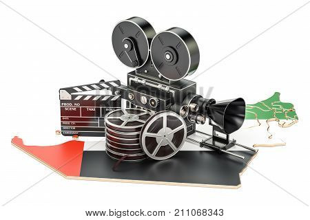 UAE cinematography film industry concept. 3D rendering isolated on white background