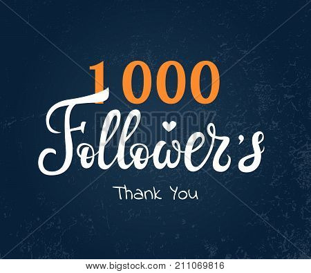 Vector lettering followers card for celebrating many followers in social networks