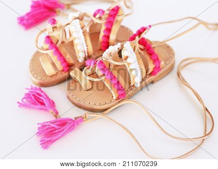 greek leather sandals for girls - shoes for kids advertisement