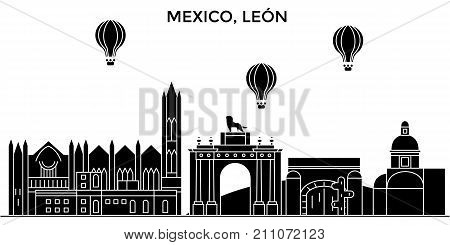 Mexico, Leon architecture skyline with landmarks, urban cityscape, buildings, houses, , vector city landscape, editable strokes