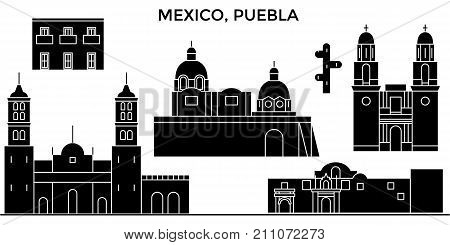 Mexico, Puebla architecture skyline with landmarks, urban cityscape, buildings, houses, , vector city landscape, editable strokes