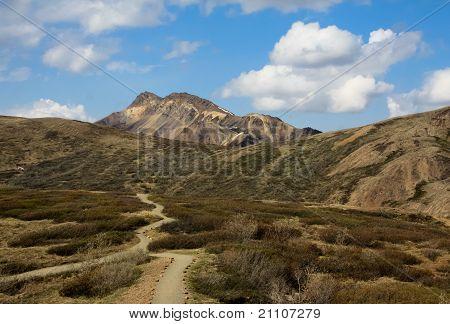 View of Mountain Hike Across Tundra