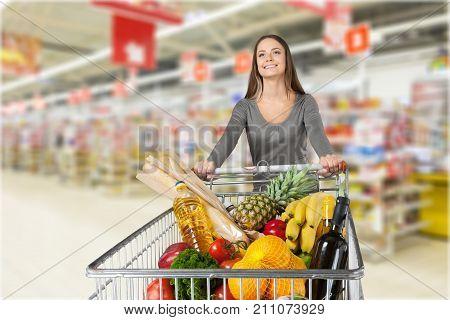 Cart shop woman pushing consumerism discount retail