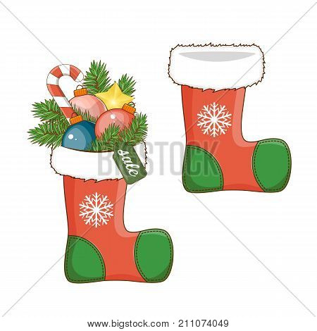 Christmas decoration sock icon for your design. Isolated white background. Stock vector.