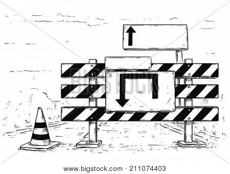 Drawing Of Detour Road Block With Empty Blank Sign