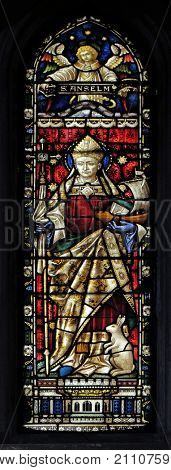 ROME, ITALY - SEPTEMBER 02: Saint Anselm on the stained glass of All Saints' Anglican Church, Rome, Italy on September 02, 2016.