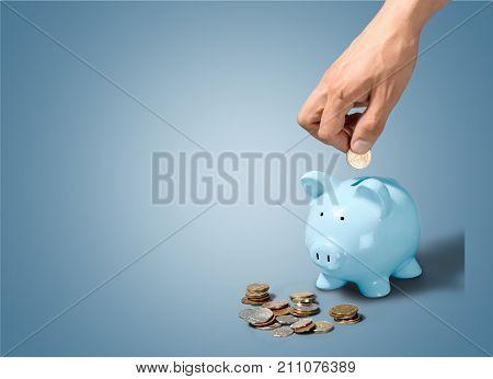 Hand bank pig putting coin piggy piggy bank