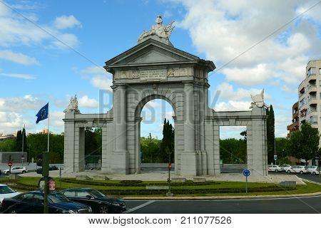 MADRID - JUN. 8, 2013: Puerta de San Vicente is a Neo-classical in Madrid, Spain.