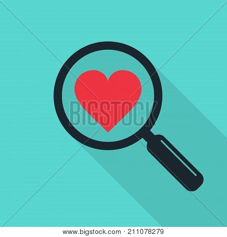 Search heart and love icon with long shadow vector. Magnifying glass with heart. Dating illustration.