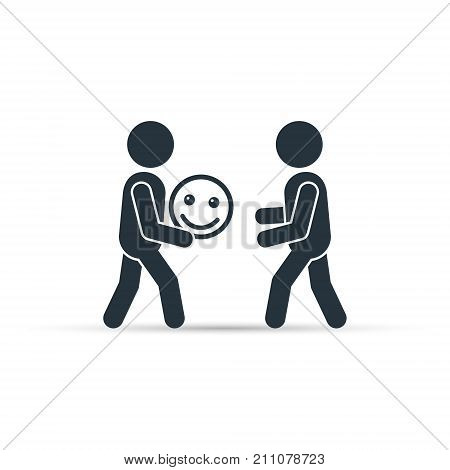 Man giving smiley emoticon icon vector. Giving good mood illustration.