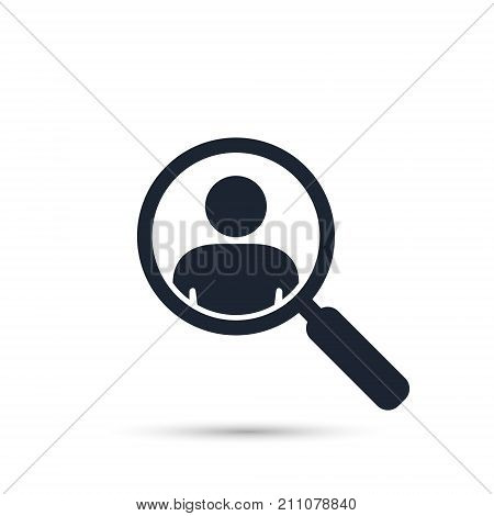 Search for employees and job business human resource. Looking for talent. Search man vector icon. Job search. Magnifying glass with men inside.