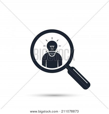Search for talent with idea. Looking for employees and job business human resource. Search man vector icon. Job search.