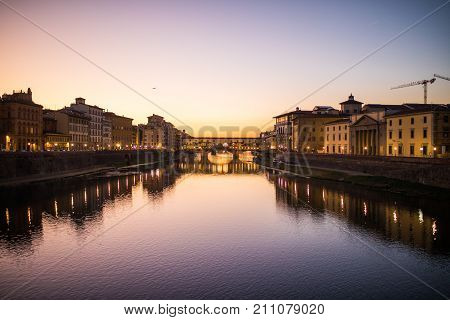 Florence Italy - October 2017. Ponte Vecchio bridge in Florence Italy. Arno River at night Tuscany poster