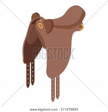 Horse saddle icon. Isometric illustration of horse saddle vector icon for web