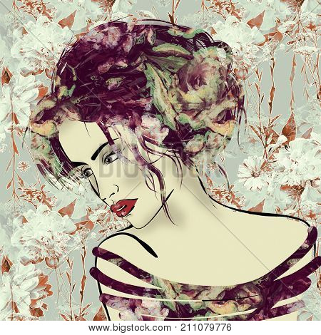 art colorful illustration with face of beautiful girl in profile with vinous floral curly hair, in party dress on floral pattern background in mixed media style