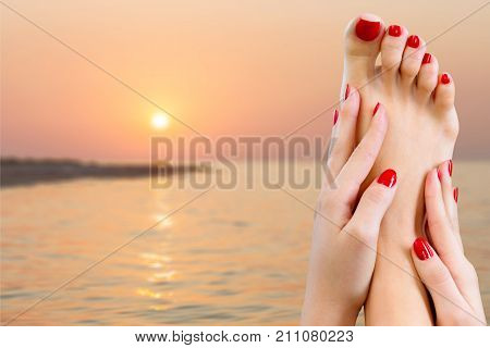 Manicure pedicure nails toes isolated beautiful human