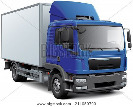 High quality vector image of box truck with blue cabin isolated on white background.