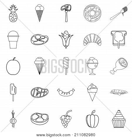 Appetizers icons set. Outline set of 25 appetizers vector icons for web isolated on white background