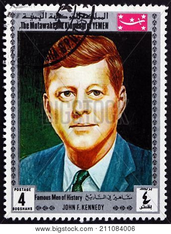 YEMEN - CIRCA 1969: a stamp printed in the Yemen shows John F. Kennedy the 35th President of United States circa 1969