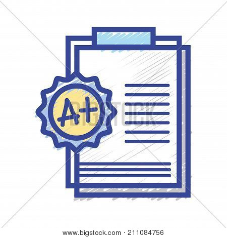 school report education with A plus result vector illustration